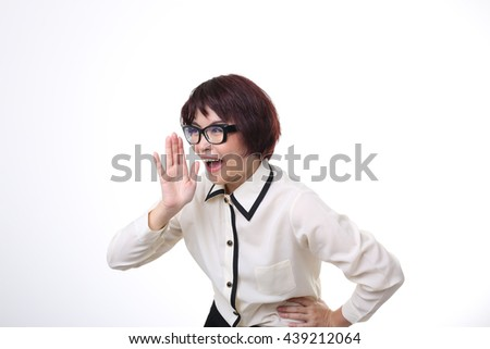 The Asian businesswoman shouting. - stock photo
