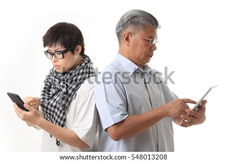 The Asian daughter and father on the white background.