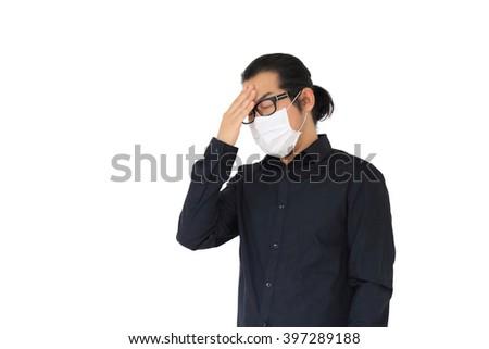 The Asian man get sick. - stock photo