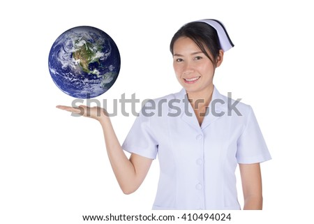 The Asian nurse and earth on hand with clipping path,Elements of this image are furnished by NASA