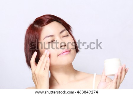 The Asian woman portrait with cosmetic.