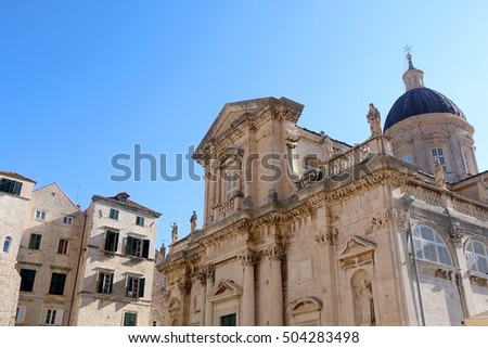 The Assumption Cathedral in Old Town Dubrovnik, Croatia. Dubrovnik is popular touristic destination and UNESCO World Heritage Site.