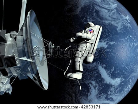 The astronaut and the spacecraft in outer space