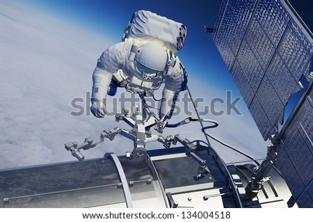 """The astronaut  in outer space""""Elemen ts of this image furnished by NASA"""" - stock photo"""