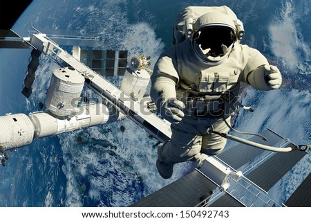 "The astronaut on a background of a planet  ""Elemen ts of this image furnished by NASA"""