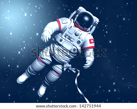 The astronaut on in an outer space against stars - stock photo