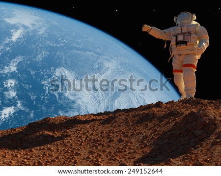"The astronaut  on the background of the planet.""Elemen ts of this image furnished by NASA"""