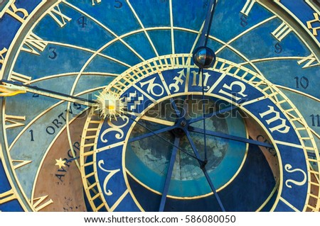 "The Astronomical Clock ""Orloj"" in Prague. Detail of the dial."