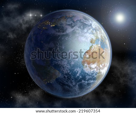 The Atlantic Ocean and West Africa in sunrise, concept 3D rendering of Earth in the sun, with North America is night illuminated. Elements of this image furnished by NASA. - stock photo