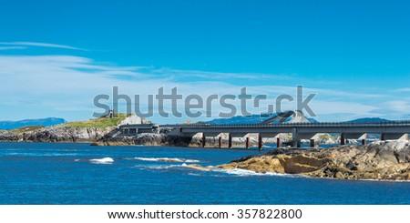 The Atlantic Ocean Road or the Atlantic Road is the part of Norwegian national road - stock photo