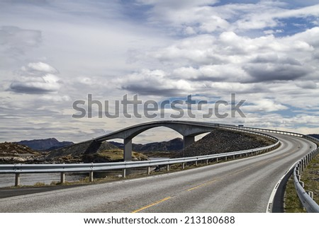 The Atlantic Road along the Norwegian west coast is one of the most interesting and popular transport links in Europe - stock photo