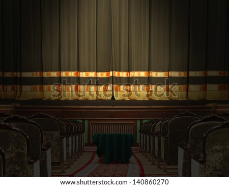The auditorium and the scene in the theater with the lights off - stock photo