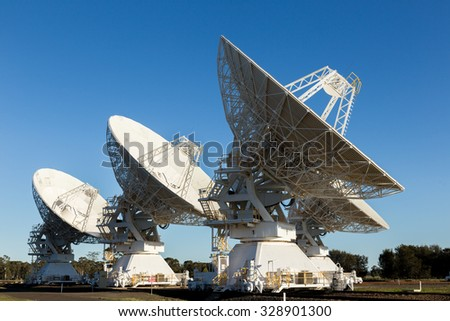 The Australia Telescope Compact Array (ATCA), at the Paul Wild Observatory, is an array of six 22-m antennas used for radio astronomy. It is located about 25 km west of  Narrabri in rural NSW  - stock photo