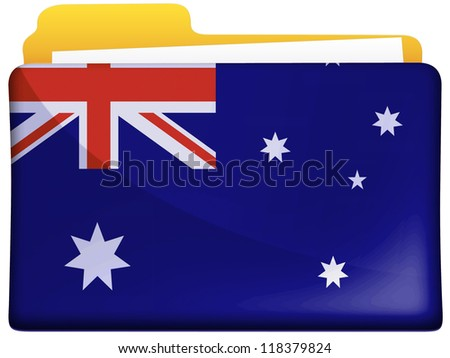 The Australian flag painted on  file folder icon - stock photo