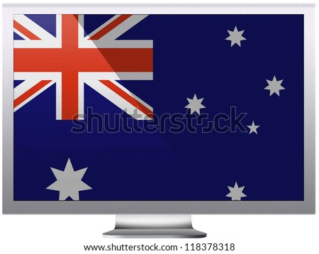 The Australian flag painted on  grey aluminum monitor - stock photo