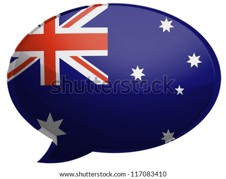 The Australian flag painted on  speaking bubble with reflection - stock photo
