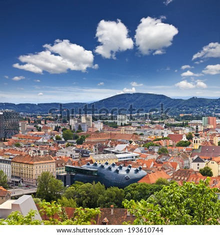 The Austrian city Graz, the capital of Styria, is a hub of art and history, added to the UNESCO list of World Cultural Heritage Sites in 1999. - stock photo