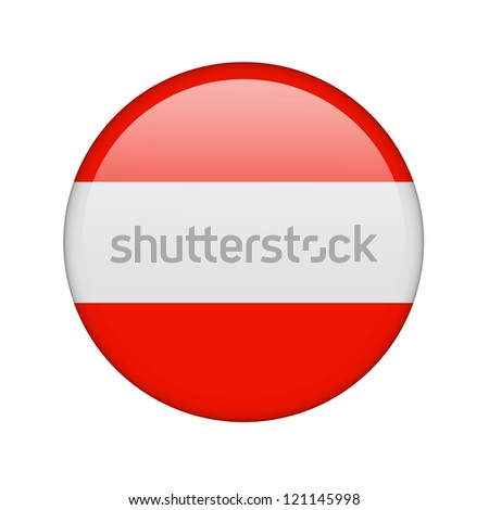 The Austrian flag in the form of a glossy icon. - stock photo
