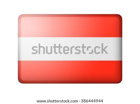The Austrian flag. Rectangular matte icon. Isolated on white background. - stock photo