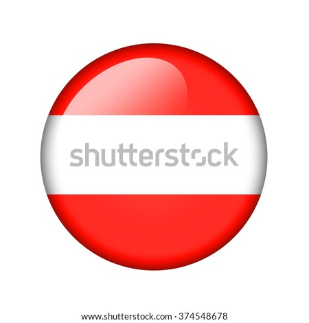 The Austrian flag. Round glossy icon. Isolated on white background.