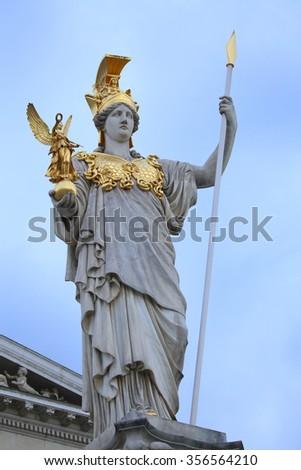 The Austrian Parliament and statue of Pallas Athena in Vienna, Austria - stock photo