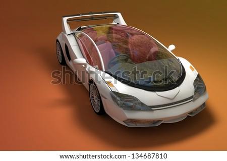 The automobile on an orange background - stock photo
