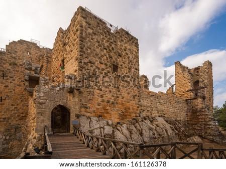 The ayyubid castle of Ajloun in northern Jordan, built in the 12th century. - stock photo