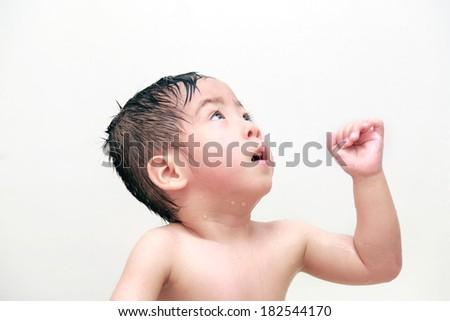 The baby a bath - stock photo