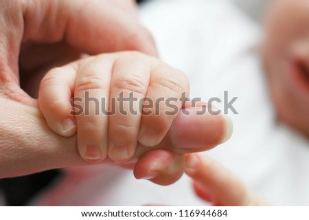 The baby holding parents finger - stock photo