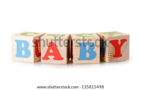 The baby word from wooden cubes isolated on a white background - stock photo