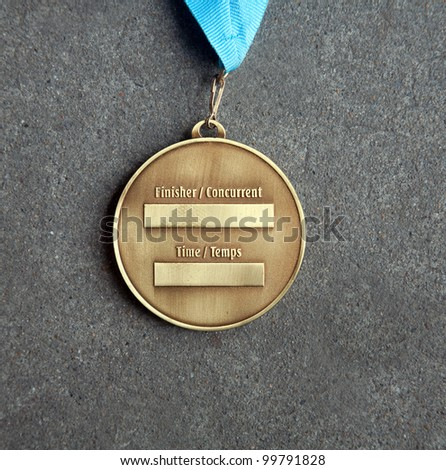 The back of a gold medal at Medals - stock photo