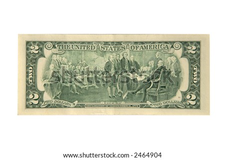 The back of a two dollar bill - stock photo
