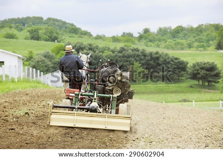 The back of an Amish man cultivating his hilltop field in the springtime with a cultivator and a pair of horses. - stock photo