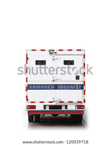 The back of an armored security vehicle isolated against white. - stock photo