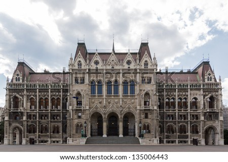 The back side of the hungarian parliament in Budapest, Hungary