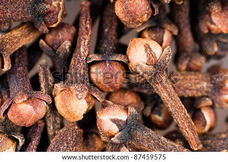 The background - aromatic spices cloves . - stock photo