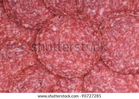 The background - detail of sliced salami