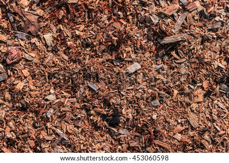 The background of natural wood sawdust and small wooden chips.