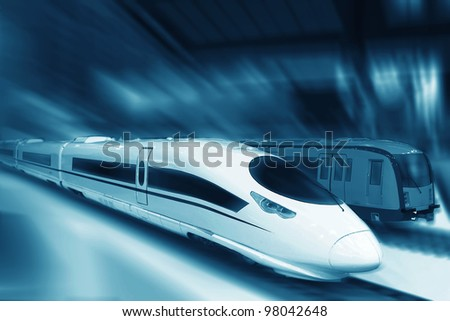 the background of the high-speed train with motion blur outdoor