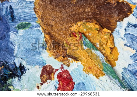 the background of the palette with  palette-knife - stock photo