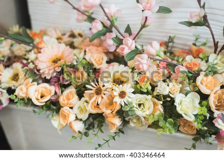 The background of the vintage beautiful flowers in colorful - stock photo