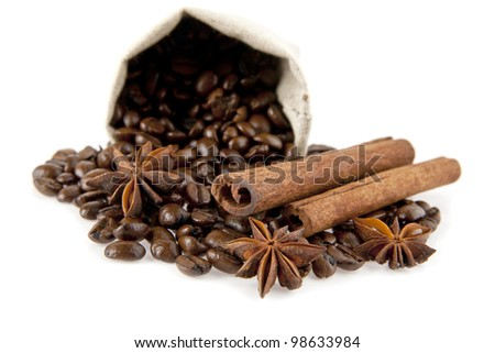 the bag of coffee on a white background - stock photo