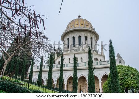 The Bahai temple and gardens, on the slopes of the Carmel Mountain, in Haifa, Israel - stock photo