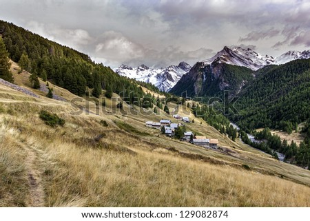 The balconies of the cristillan, the park of Queyras, department of the high Alps, France - stock photo
