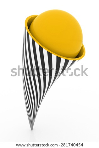 the ball is inside the shape - stock photo