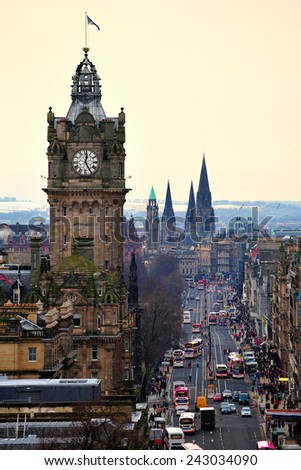 The Balmoral Hotel & Clock Tower with Princes Street - From Calton Hill, Edinburgh, Scotland, United Kingdom - stock photo