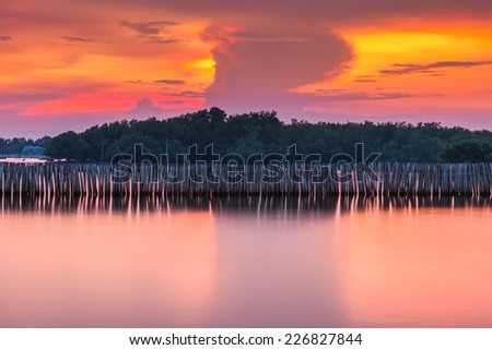 The bamboo wall is for protecting heavy wave and storm. Sunset of Thailand sea - stock photo