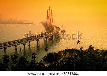 The Bandra-Worli Sea Link, also called Rajiv Gandhi Sea Link at dusk. It is a cable-stayed vehicular bridge that links Bandra in the northern suburb of Mumbai with Worli in South Mumbai.