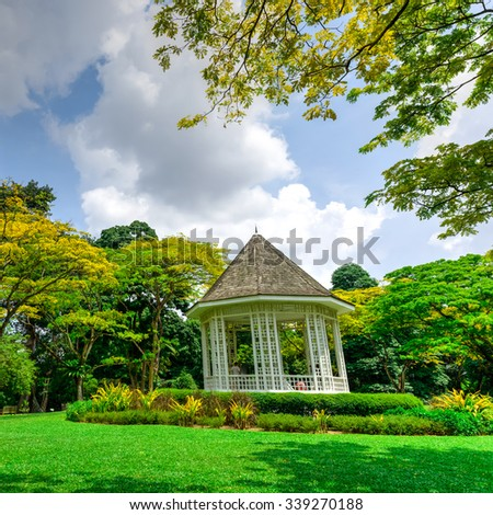 The Bandstand (or Gazebo) at the Botanic Gardens, an UNESCO World Heritage Site of Singapore. It has more than 10K species of flora, spreads over its 74ha area, and receives 4.5M visitors annually - stock photo