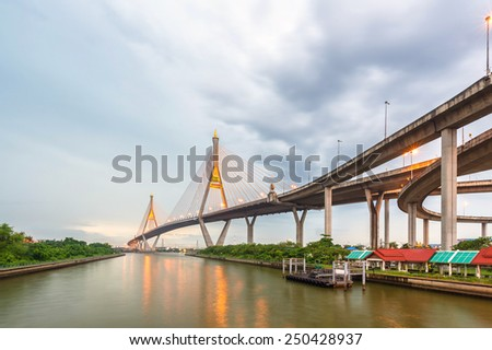 The Bangkok bridge with the reflection in the water